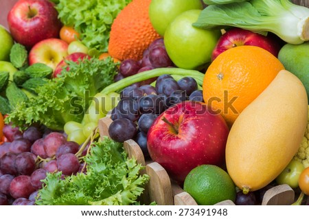 Group tropical fruits and vegetables - stock photo
