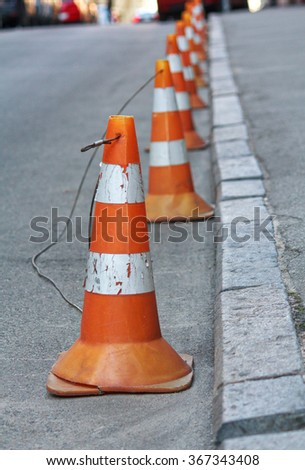 Group warning cones on the road. Objects - stock photo