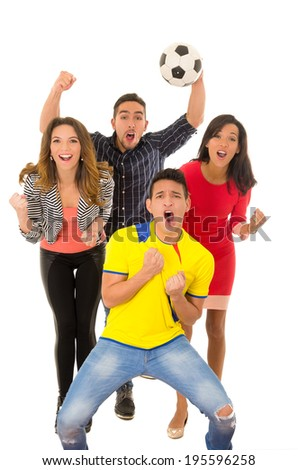 group watching football match goal - stock photo
