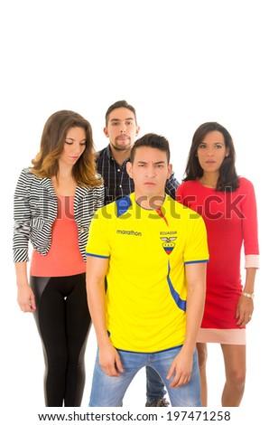group watching football match sad - stock photo