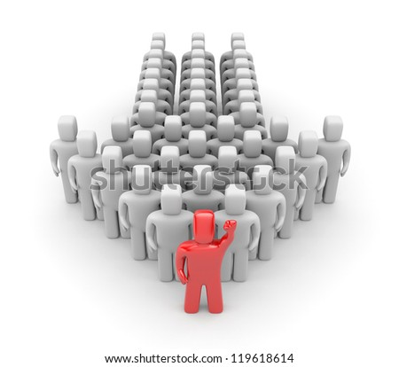 Group with leader - stock photo