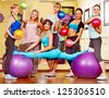 Group women in aerobics class. - stock photo