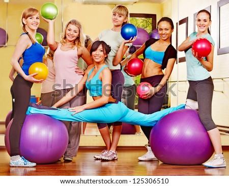 Group women in aerobics class. - stock photo