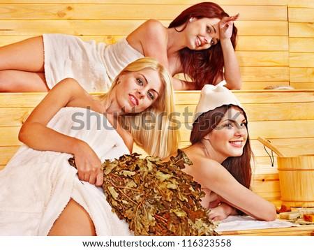 Group women in sauna. - stock photo