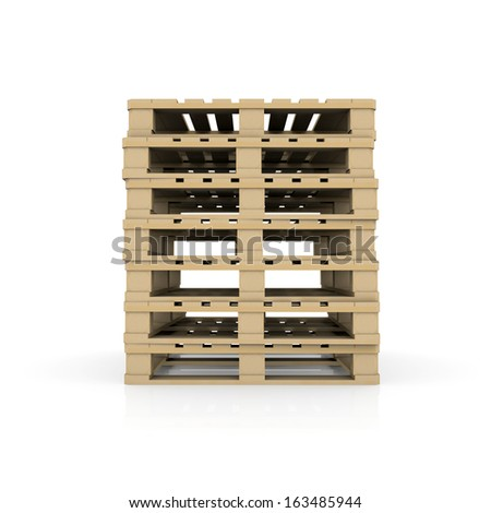 Group wooden pallets. Isolated render on a white background