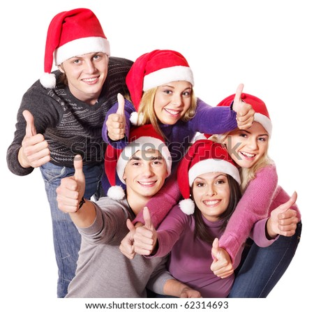 Group young people at nightclub. Isolated. - stock photo