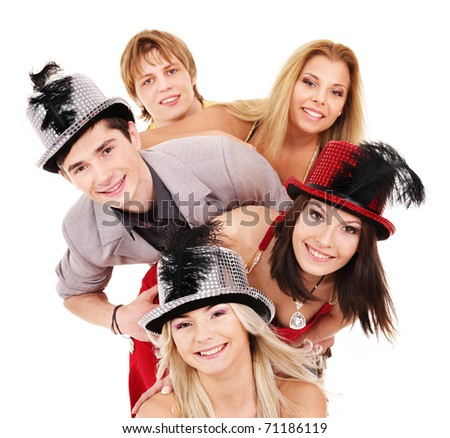 Group young people in party hat. Isolated