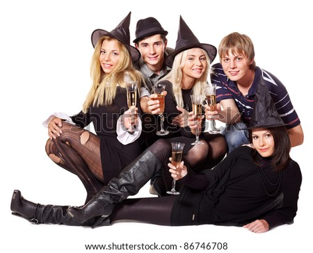 Group young people on party. Isolated. - stock photo