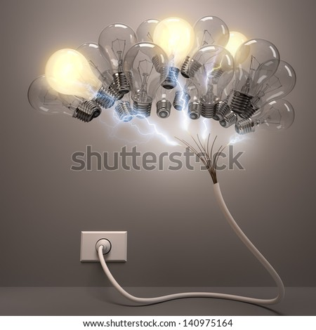 Grouped lamps shaped brain. Some lamps lighting, concept of active neurons. - stock photo
