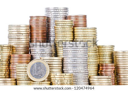 grouped stacks of EURO coins, isolated on white - stock photo