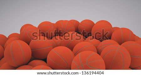 Groups of classical basketballs. 3d render of studio - stock photo