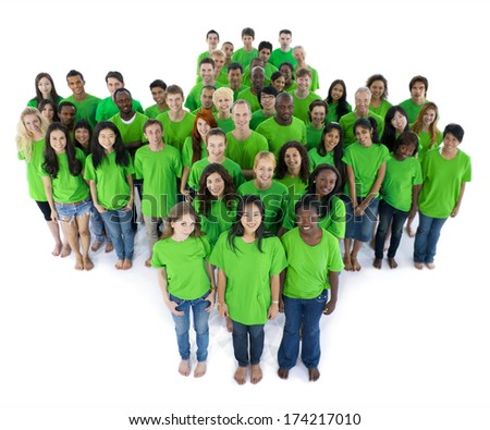 Groups of people in green color - stock photo