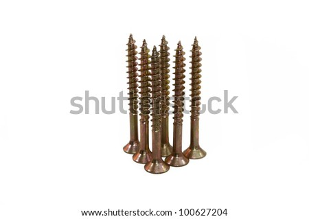 groups of screws isolated on white background