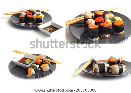 Groups of Sushi with taste variety and beautiful colorful on a white background - stock photo