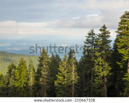 Grouse Mountain is one of the North Shore Mountains of the Pacific Ranges in the District Municipality of North Vancouver, British Columbia, Canada. - stock photo