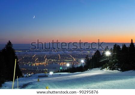 Grouse Mountain Night Ski Runs And Vancouver Cityscape