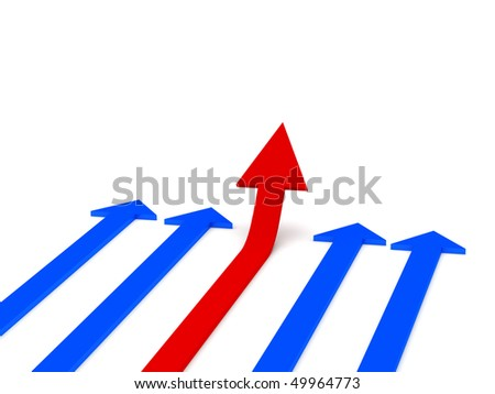 Grow 3d arrow stat. Red and blue arrows isolated on white background. High quality 3d render. - stock photo