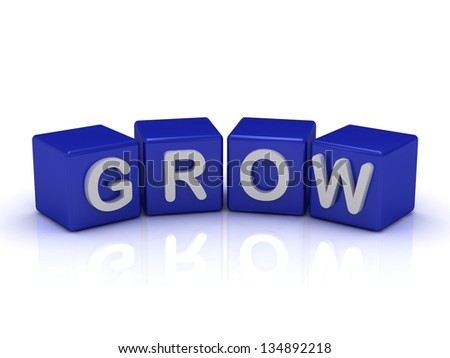 GROW word on blue cubes on an isolated white background