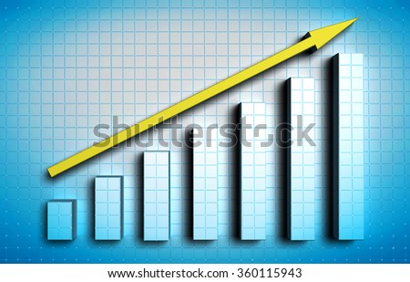 growing blue graph with yellow arrow on blue background
