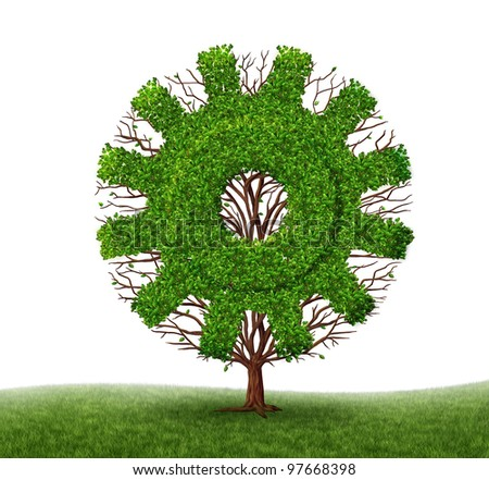 Growing Economy and business concept with a tree and branches with leaves in the shape of a machine gear or cog as an industrial symbol of financial success with investment on a white background