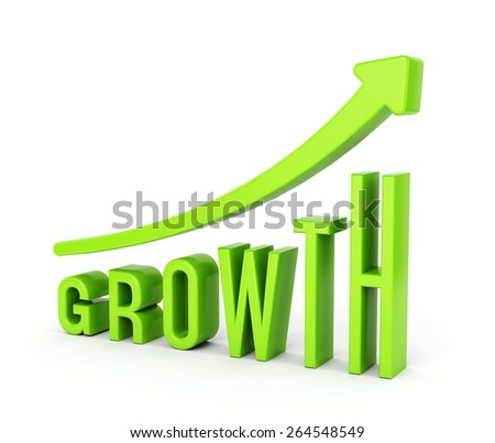 Growing Graph Chart Arrow Text Growth Stock Illustration 264548549