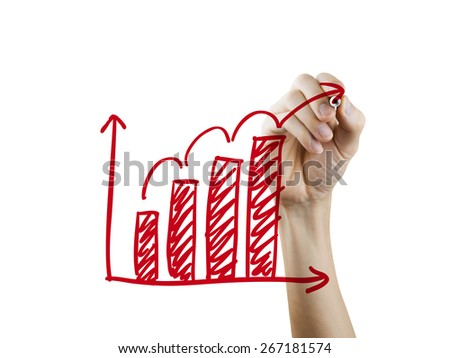 growing graph drawn by hand on a transparent board - stock photo