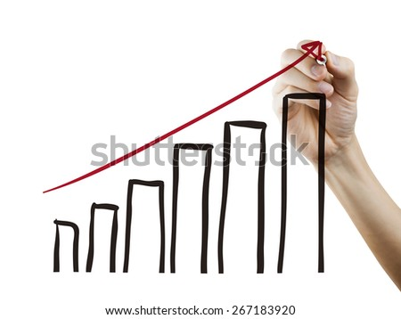 growing graph drawn by hand over white background - stock photo