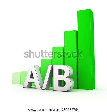Growing green bar graph of AB on white. Landing page test concept. - stock photo