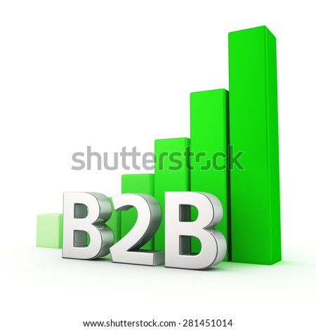 Growing green bar graph of B2B on white. Business growth concept. - stock photo