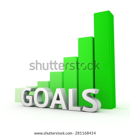 Growing green bar graph of Goals on white. More goals, more profit - stock photo