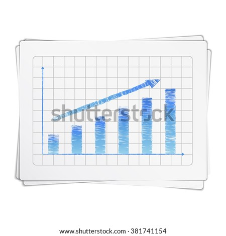 Growing hand drawn bar graph with arrow - stock photo