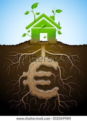 Growing house sign as plant and euro as root. Home and money symbol in shape of plant parts. Illustration for mortgage, green building, real estate, investment, construction, sustainability, etc - stock photo