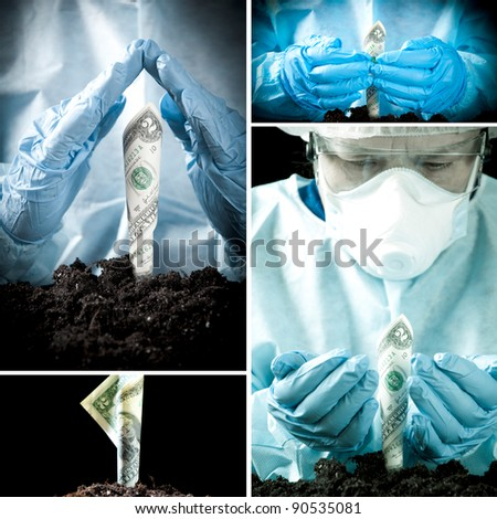 Growing money in laboratory environment, collage