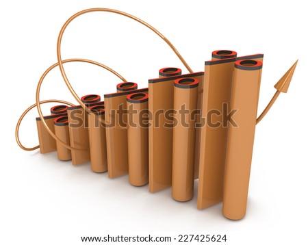 Growing percent chart - stock photo