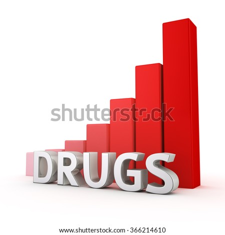 Growing red bar graph of Drugs on white. Increased drugs use.