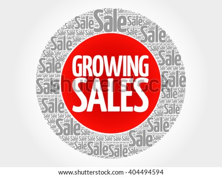 Growing Sales stamp words cloud, business concept background - stock photo
