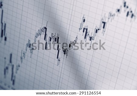 Growing stock chart on a PC screen - stock photo