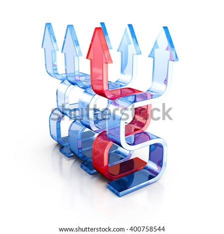 Growing Success Leader Red Glass Arrow. 3d Render Illustration - stock photo