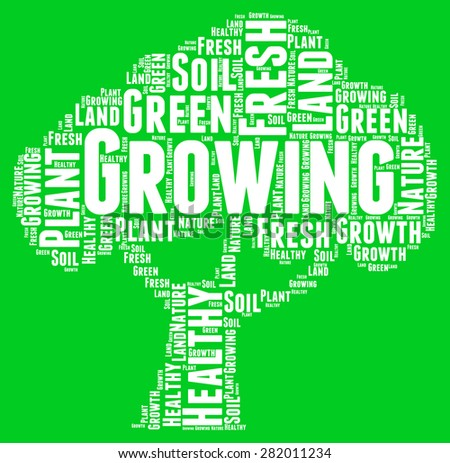 Growing tree word cloud on green background - horizontal image