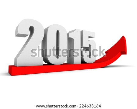 growing up 2015 year red success arrow. 3d render illustration - stock photo
