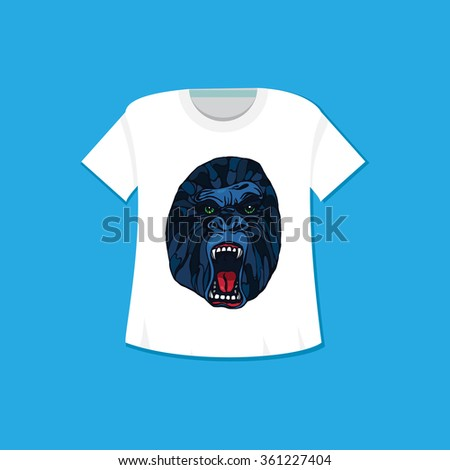 Growling detailed gorilla in cartoon style. Print and template design for t-shirt, poster, bag.
