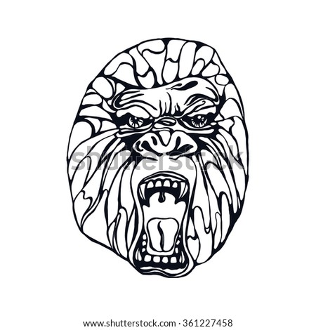 Growling detailed gorilla in tattoo style. Design for t-shirt, poster, bag.