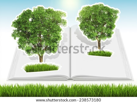 Grown tree in white blank open book with green fresh grass and blue sky on background