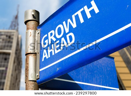 Growth Ahead blue road sign - stock photo