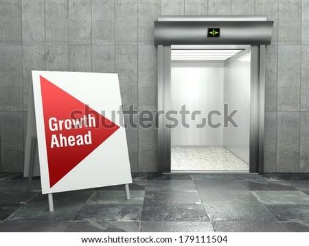 Growth ahead concept, Modern elevator with open door - stock photo