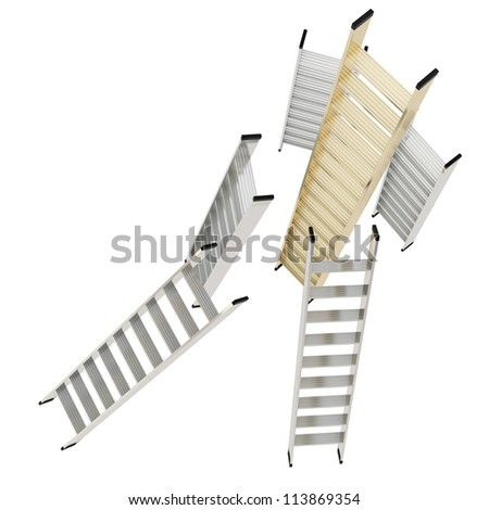 Growth and leader competition conception as golden and chrome metal glossy ladders isolated on white background