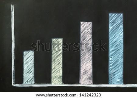 Growth Business graph on blackboard economic - stock photo