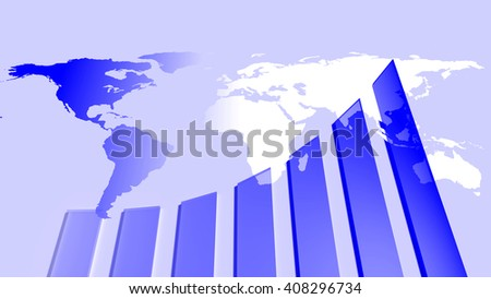 Growth chart and earth map - stock photo