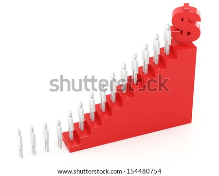 Growth chart on the white background - stock photo