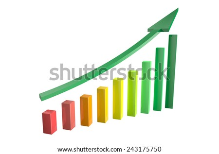 growth chart with arrow isolated on white background.